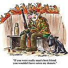 Cartoon: hunter & dog in duck blind by BruceCochran