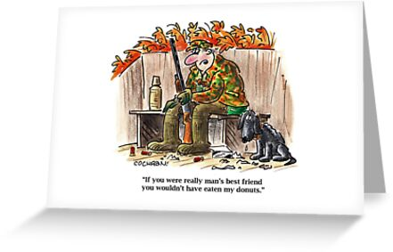 Quot Cartoon Hunter Amp Dog In Duck Blind Quot Greeting Cards By