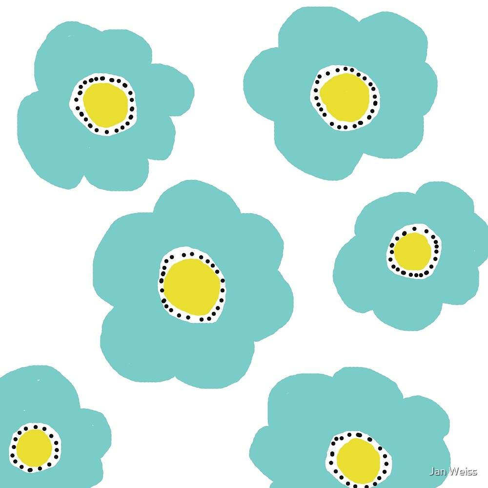 Aqua Pop Flowers by Jan Weiss