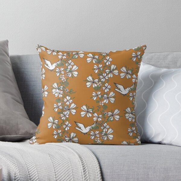 Bird Vine (Orange) Throw Pillow
