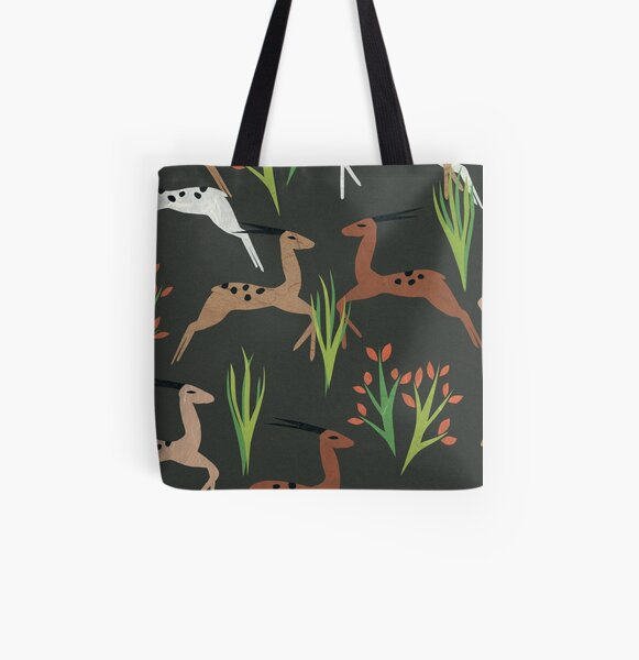 Leaping Deer (Mahogany) All Over Print Tote Bag