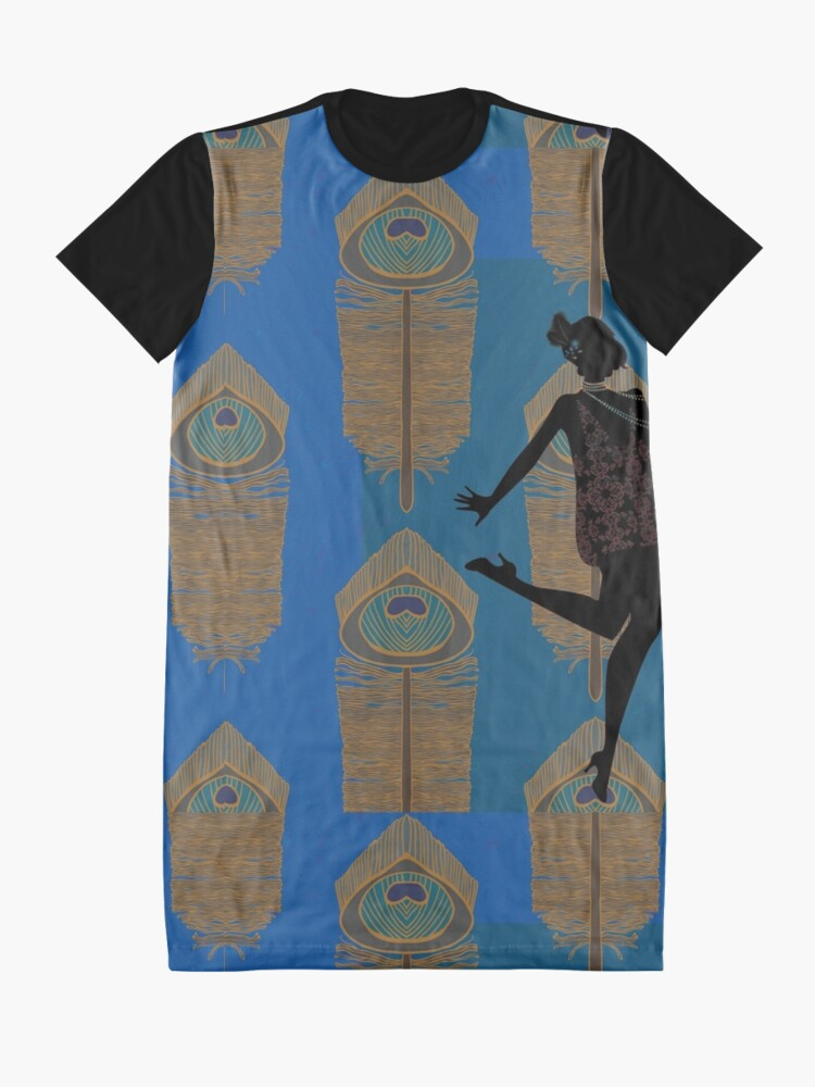 Alternate view of Peacock Flapper Graphic T-Shirt Dress