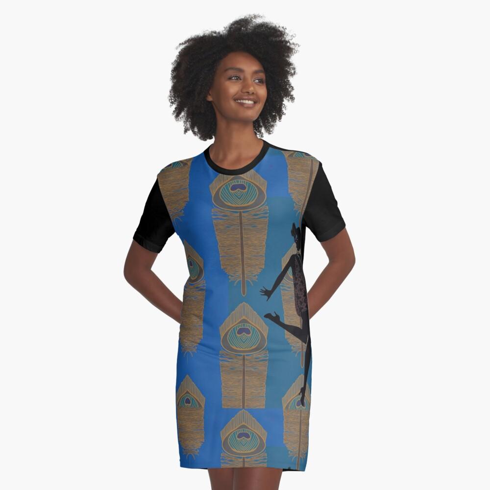 Peacock Flapper Graphic T-Shirt Dress