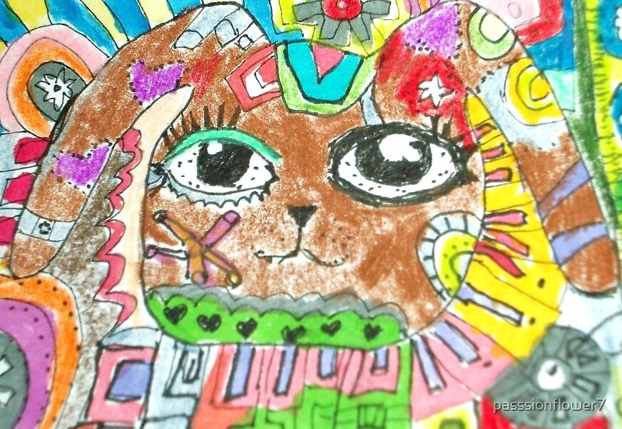 Abstract Bunny Colored pencil aceo by SJM by passsionflower7