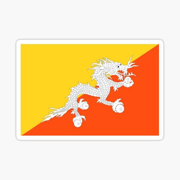 BHUTAN. TIBET. Flag of Bhutan, Tibetan, Buddhist, Thunder, Dragon, Bhutan Flag, National flag of Bhutan. Sticker