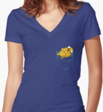 Adventure Time: Jake in Pocket Women's Fitted V-Neck T-Shirt