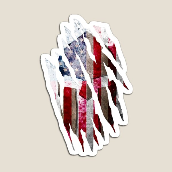 Molon Labe - Torn Print of a Spartan Helmet on a Distressed American Flag Magnet
