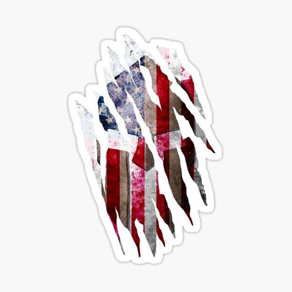 Molon Labe - Torn Print of a Spartan Helmet on a Distressed American Flag Sticker