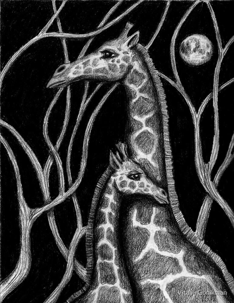 Giraffe colored pencils drawing by Vitaliy Gonikman