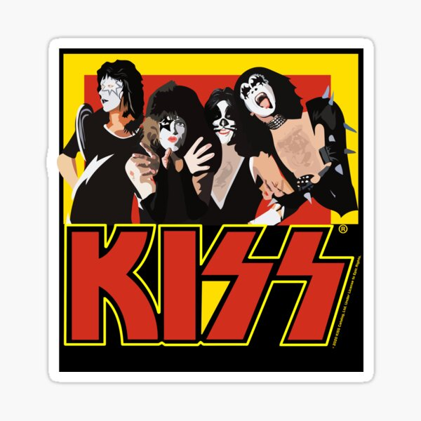 KISS - Red and Yellow Vector Illustration Sticker