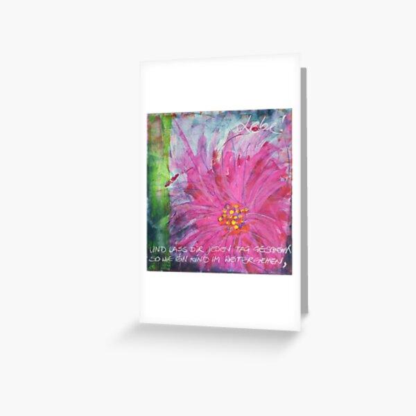 Frühlingserwachen: »pink daisy« Grußkarte