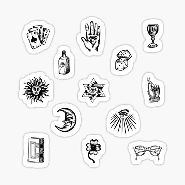 mystic hand drawn sticker pack set  Sticker