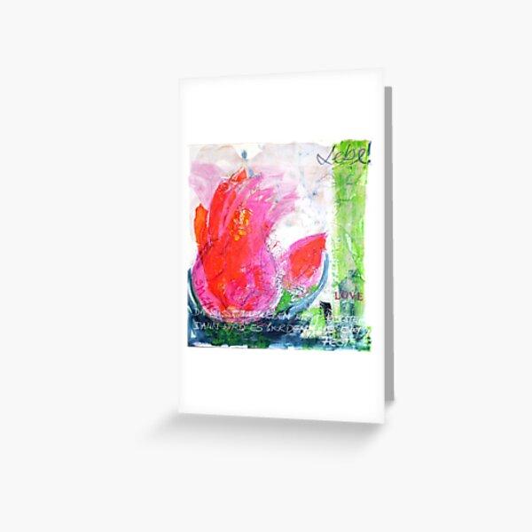 Frühlingserwachen: »orange tulip« Grußkarte