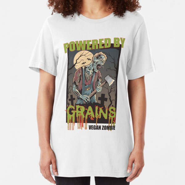 Vegan Zombie Powered by Grains Slim Fit T-Shirt