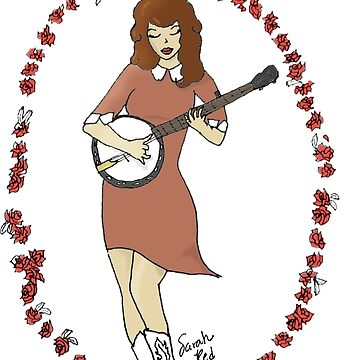 """""""Bluegrass Gal"""" Banjo Pinup Girl by SarahRedShoes"""