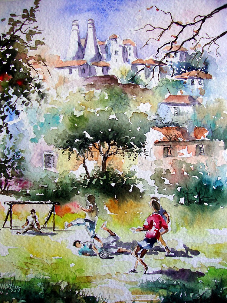 children playing in sintra.. by Almeida Coval