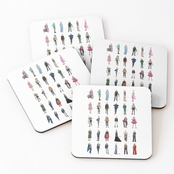 killing eve villanelle fashion looks version2 Coasters (Set of 4)