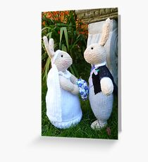 Hand knitted Bride and Groom Rabbits Greeting Card