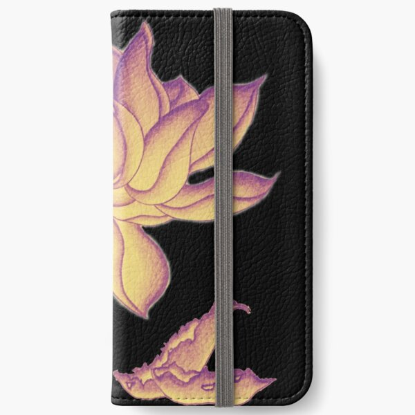 Lotus-like flower (purple-yellow hue) iPhone Wallet