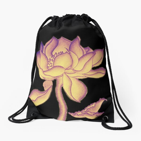 Lotus-like flower (purple-yellow hue) Drawstring Bag