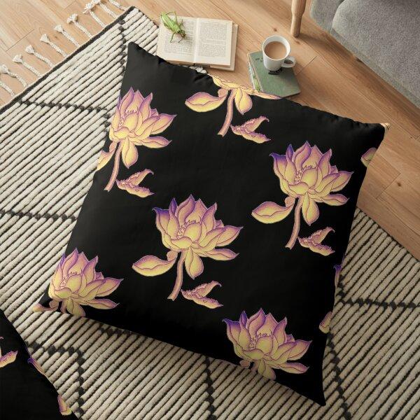 Lotus-like flower (purple-yellow hue) Floor Pillow