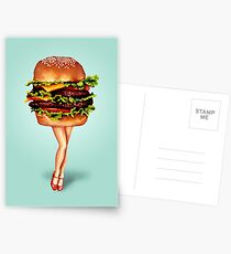 """Stacked"" - Cheeseburger Girl Postcards"