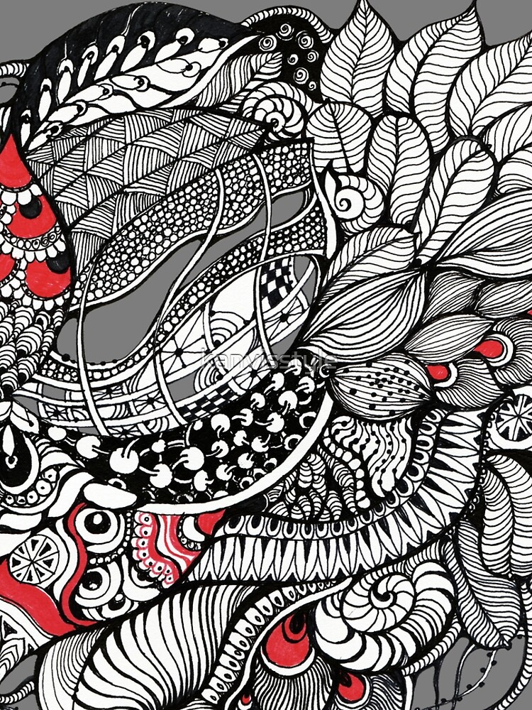hand drawn fine line black and red fantasy   by kanvisstyle