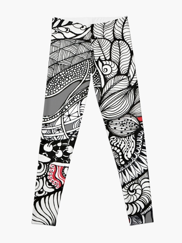 Alternate view of hand drawn fine line black and red fantasy   Leggings