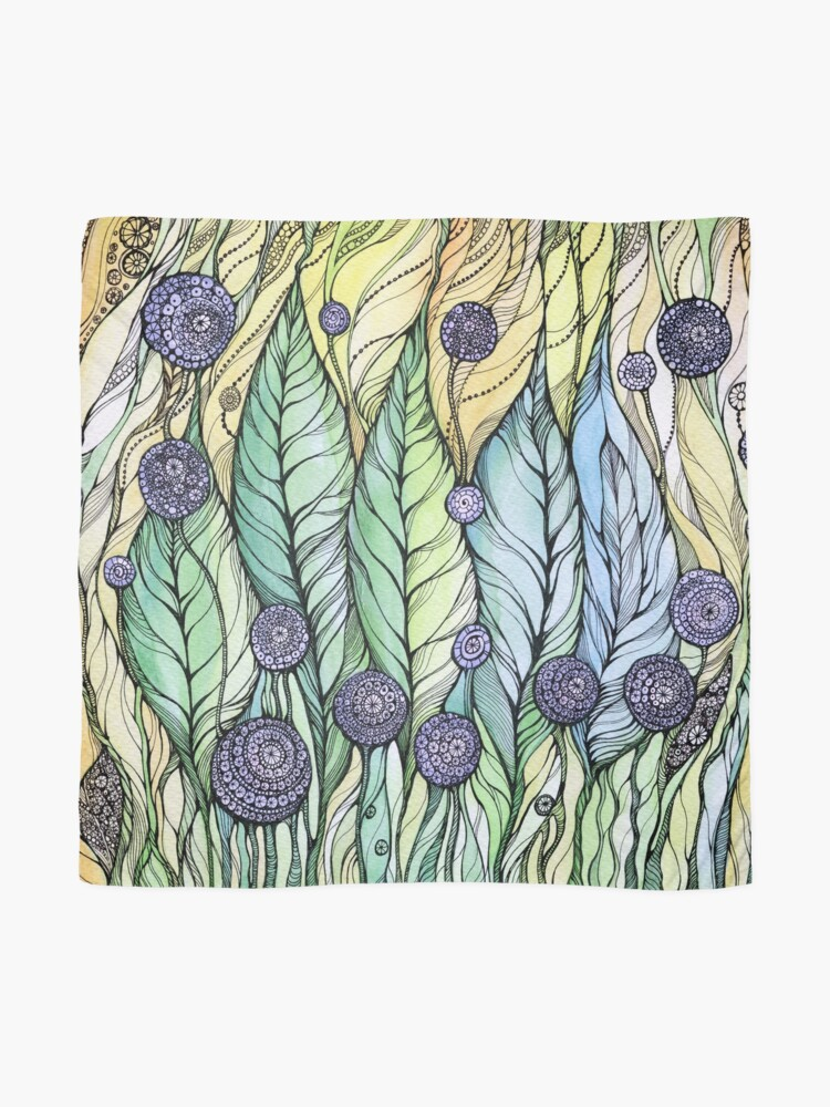 Alternate view of Dandelions.Hand draw  ink and pen, Watercolor, on textured paper Scarf