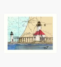St Joseph Lighthouse Lake MI Chart Cathy Peek Art Print