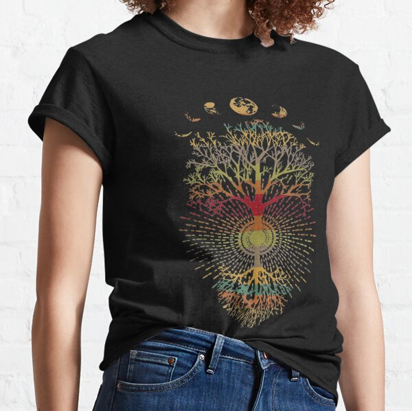 Phases of the Moon Retro 60's 70's Vibe Tree of Life Classic T-Shirt