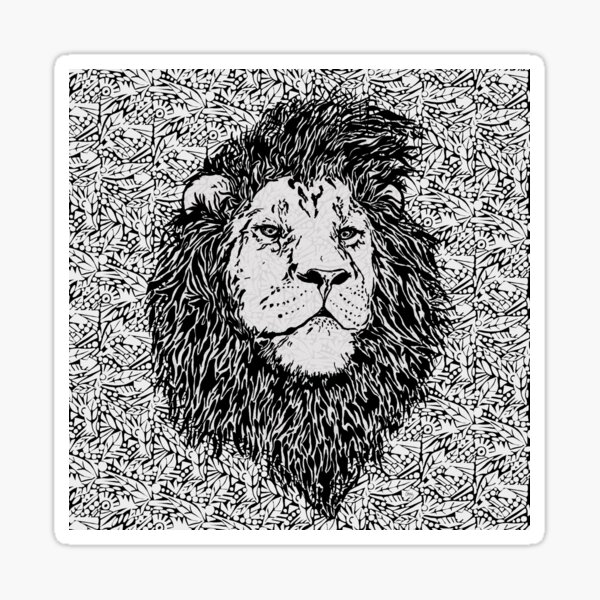 King of the Jungle, Lion in Black and White  Sticker