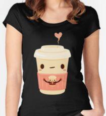 Kaffee Kaffee Tailliertes Rundhals-Shirt