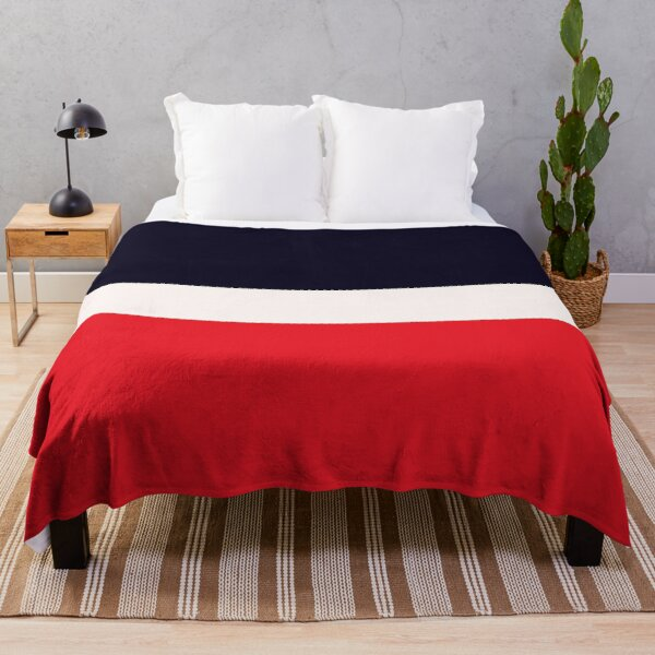 Navy Blue and Red Throw Blanket