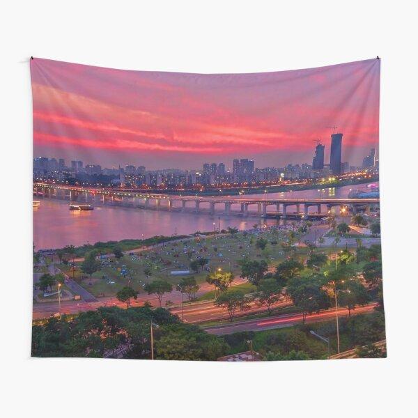 Summer sunset in Seoul Korea Tapestry