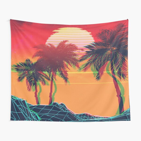 Vaporwave landscape with rocks and palms Tapestry