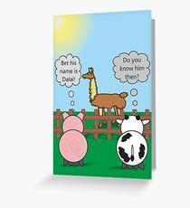 Funny Animals Dalai Llama Design Hilarious Rudy Pig & Moody Cow   Greeting Card