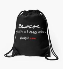 Black is such a happy color! Drawstring Bag