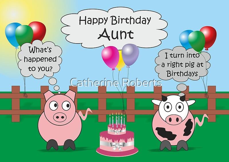 Funny Animals Aunt Birthday Hilarious Rudy Pig Moody Cow – Odd Birthday Cards