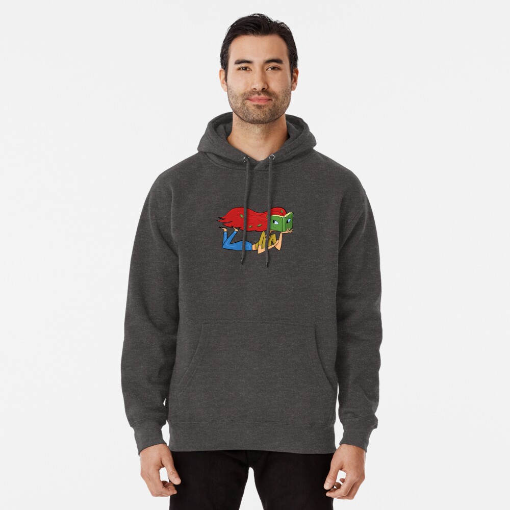 girl with a face in a book and leaves in her hair Pullover Hoodie