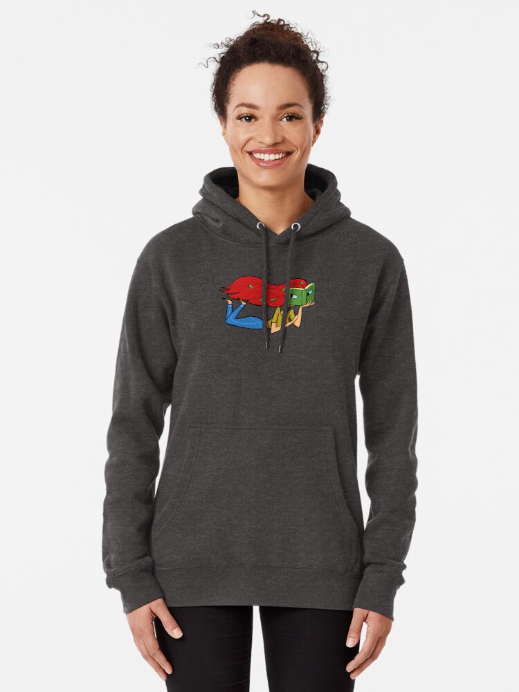 Alternate view of girl with a face in a book and leaves in her hair Pullover Hoodie