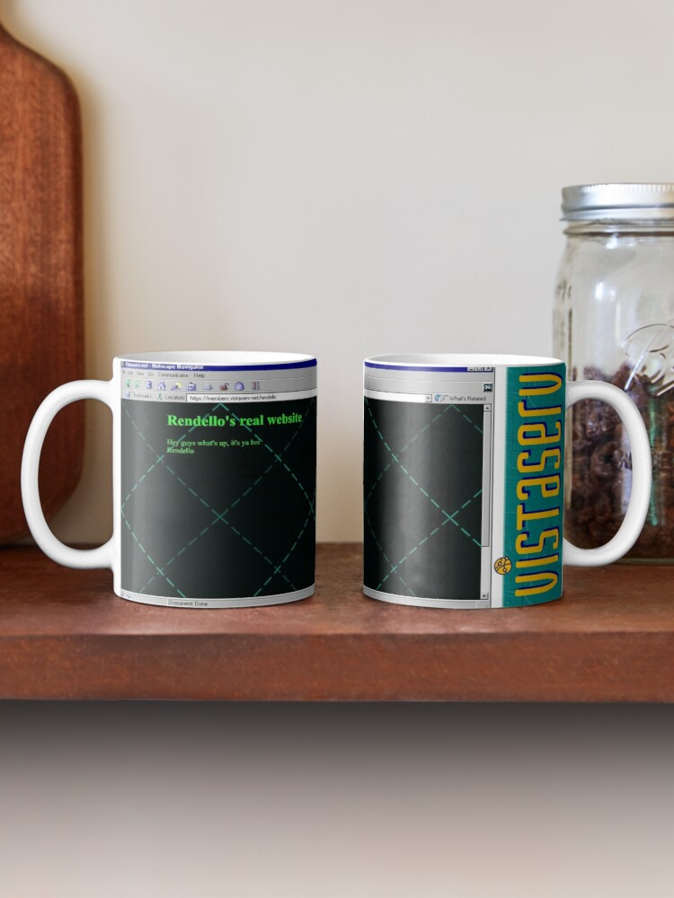 A mug with a screenshot of rendello's home page on it