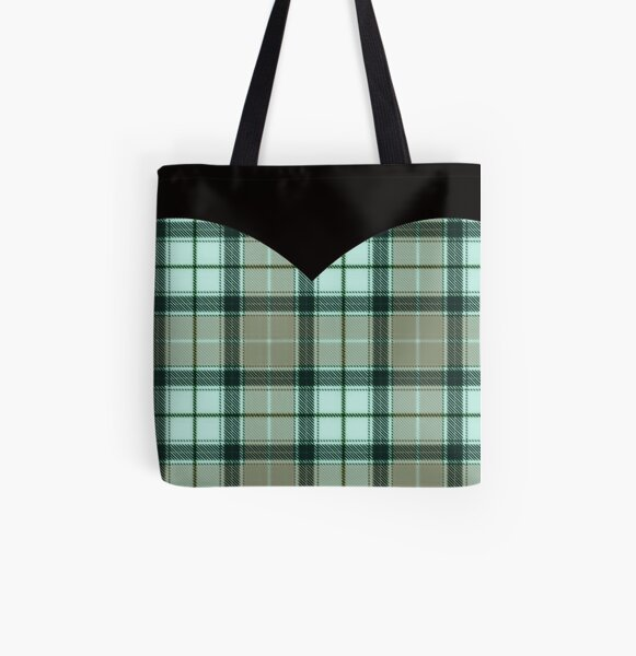 Faded Green Plaid Heart All Over Print Tote Bag