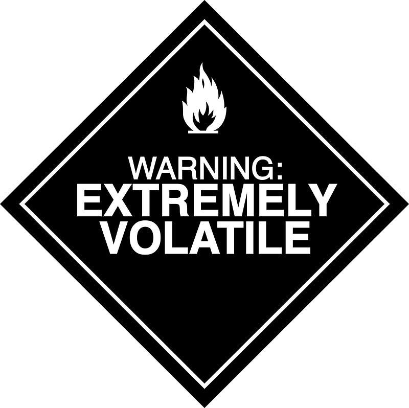Quot Extremely Volatile Warning Sign Quot Stickers By Mark Walker