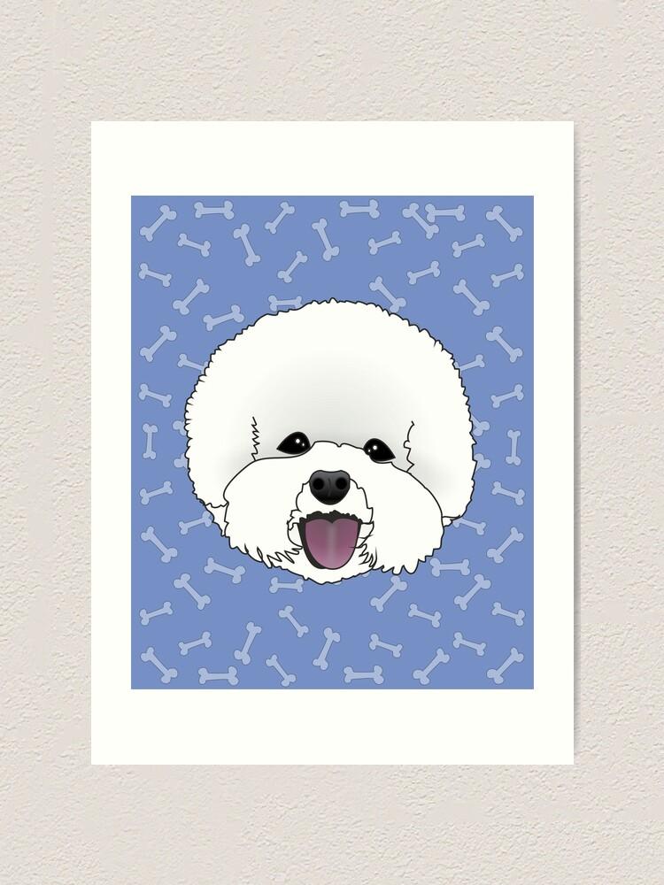 Bichon Frise Cartoon Dog Illustration On Blue Bones Background
