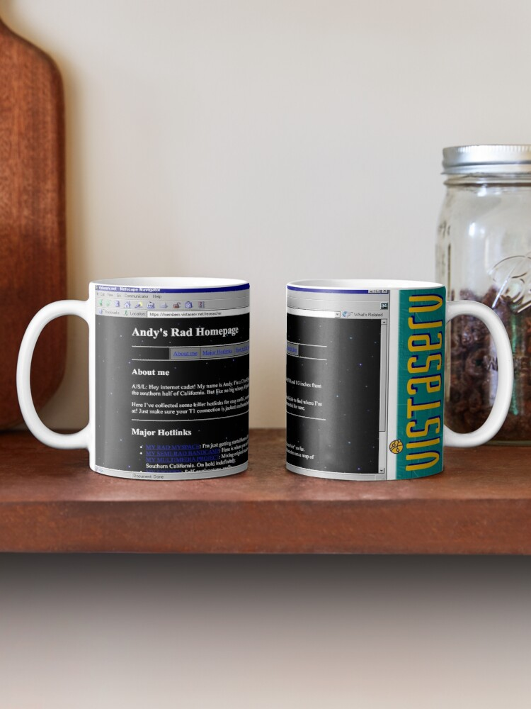 A mug with a screenshot of researcher's home page on it