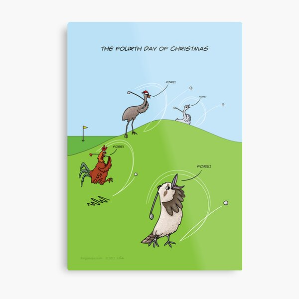 The Fourth Day of Christmas (4 Calling Birds) Metal Print