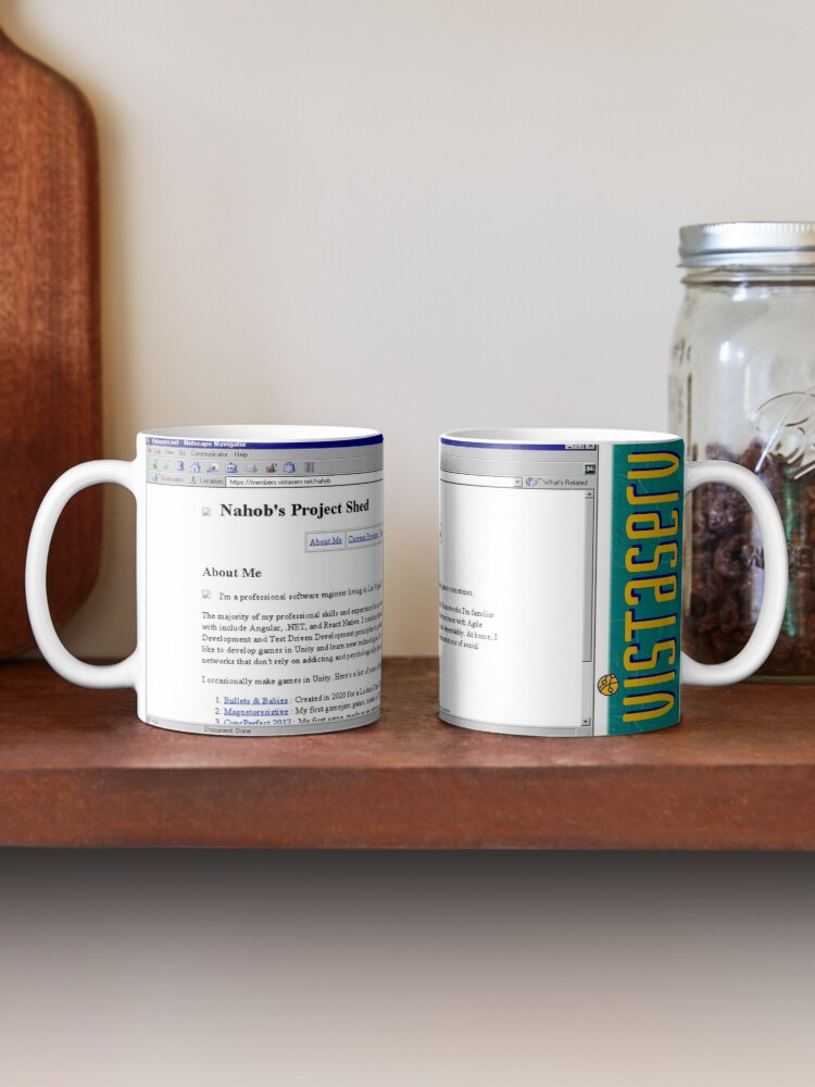 A mug with a screenshot of nahob's home page on it