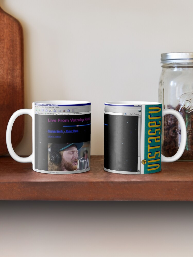 A mug with a screenshot of votruba.ranch's home page on it