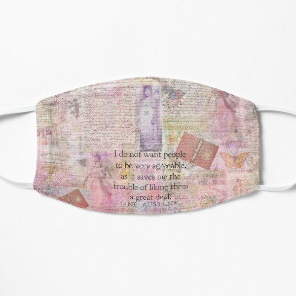 Jane Austen whimsical humor people quote Flat Mask